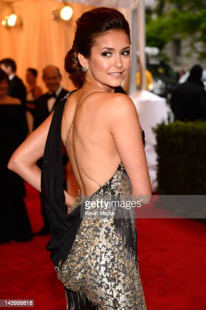 Nina Dobrev attends the Schiaparelli And Prada Impossible Conversations Costume Institute Gala at the Metropolitan Museum of Art on May 7 2012 in New...