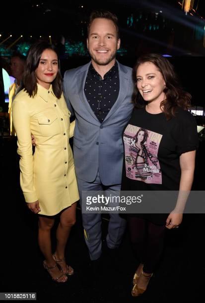 Nina Dobrev Chris Pratt and Rachel Bloom attend FOX's Teen Choice Awards at The Forum on August 12 2018 in Inglewood California
