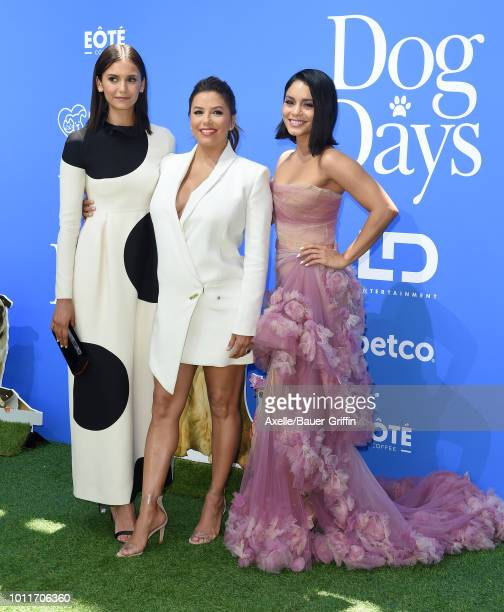 Nina Dobrev Eva Longoria and Vanessa Hudgens arrive at the premiere of LD Entertainment's 'Dog Days' at Westfield Century City on August 5 2018 in...