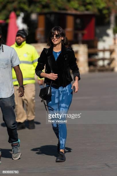 Nina Dobrev visits 'Extra' at Universal Studios Hollywood on December 15 2017 in Universal City California