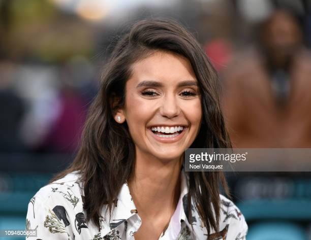 Nina Dobrev visits Extra at Universal Studios Hollywood on January 15 2019 in Universal City California