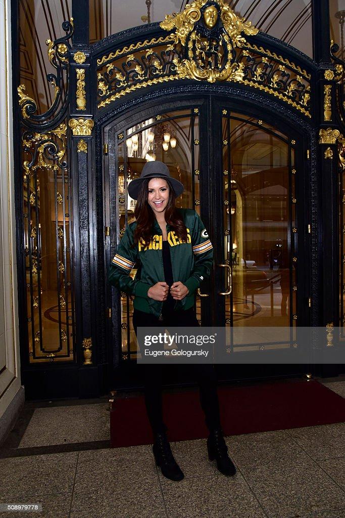Nina Dobrev Wears Starter Jacket As She Heads To The Big Game : News Photo