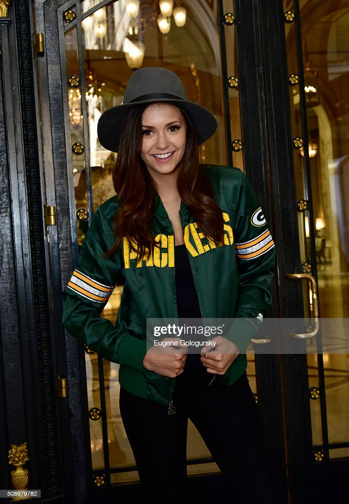 Nina Dobrev Wears Starter Jacket As She Heads To The Big Game : News Photo