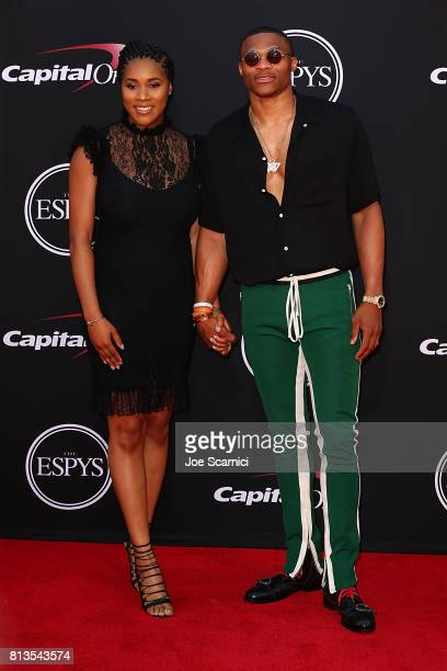 Nina Earl and Russell Westbrook arrive at the 2017 ESPYS at Microsoft Theater on July 12 2017 in Los Angeles California