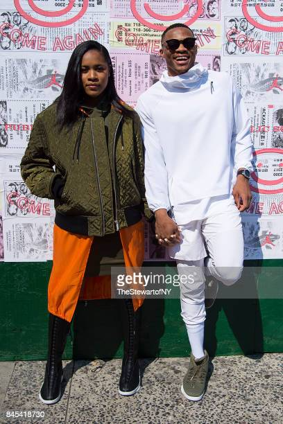 Nina Earl and Russell Westbrook attend the Public School runway show during New York Fashion Week at the Canel Arcade on September 10 2017 in New...