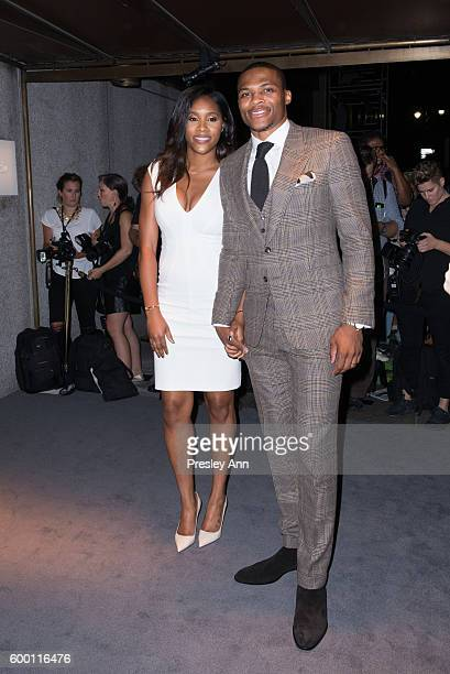 Nina Earl and Russell Westbrook attend Tom Ford fashion show during New York Fashion Week at 99 East 52nd Street on September 7 2016 in New York City