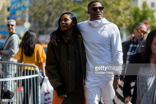 Nina Earl and Russell Westbrook seen in the streets of Manhattan outside Public School during New York Fashion Week on September 10 2017 in New York...