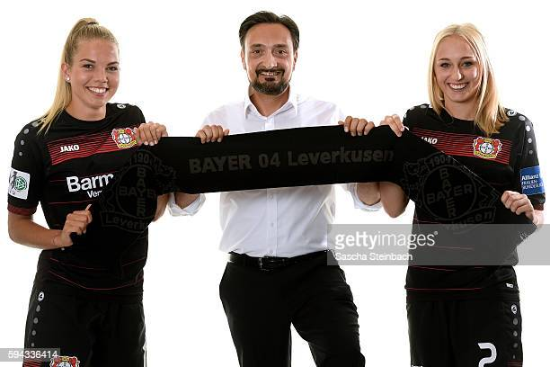 Nina Ehegoetz of Bayer 04 Leverkusen Goeksen Tandogan of Allianz Insurance and Frederike Kempe of Bayer 04 Leverkusen pose during the Allianz Women's...