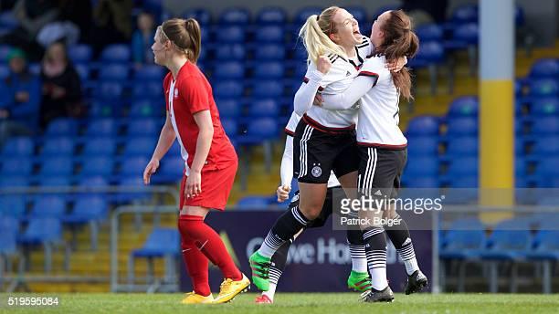 Nina Ehogtz of Germany celebrates scoring the 1st goal for Germany with Viktoria Schwaim during the Women's U19 Championship Elite Round match...