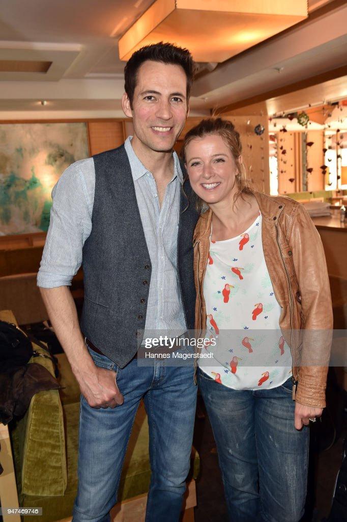 Nina Eichinger and Alexander Mazza attend the celebration of the first Weltmatratzenwendetag ( World Mattress Flipping Day ) at Hotel Louis on April 17, 2018 in Munich, Germany.