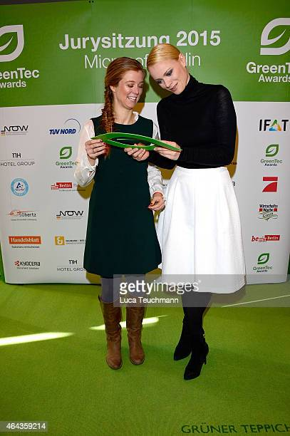 Nina Eichinger and Franziska Knuppe attend the GreenTec Awards Jury Meeting 2015 at Microsoft Berlin on February 25 2015 in Berlin Germany