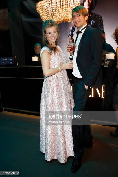 Nina Eichinger and her partner Fritz Meinikat pose at the Bambi Awards 2017 party at Atrium Tower on November 16 2017 in Berlin Germany