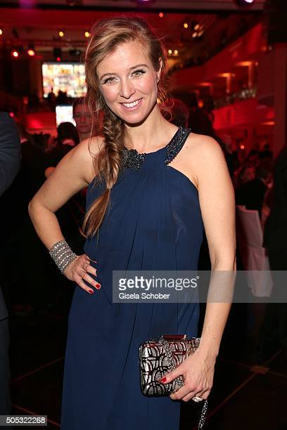 Nina Eichinger clutch by Aigner during the German Film Ball 2016 party at Hotel Bayerischer Hof on January 16 2016 in Munich Germany