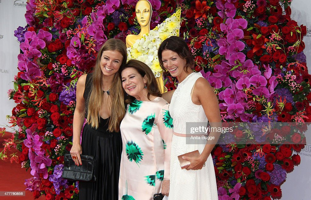 Nina Eichinger, Hannelore Elsner and Jessica Schwarz arrive to the German Film Award 2015 Lola (Deutscher Filmpreis) at Messe Berlin on June 19, 2015 in Berlin, Germany.