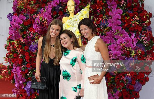 Nina Eichinger Hannelore Elsner and Jessica Schwarz arrive to the German Film Award 2015 Lola at Messe Berlin on June 19 2015 in Berlin Germany