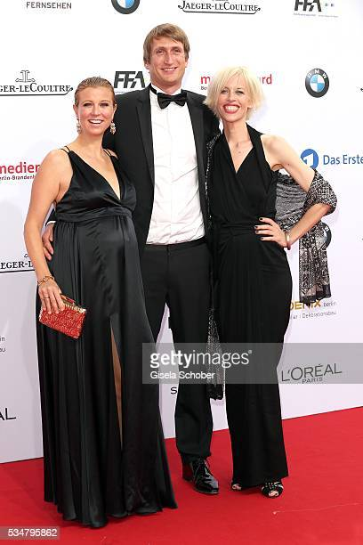 Nina Eichinger her boyfriend Fritz Meinikat and Katja Eichinger widow of Bernd Eichinger attend the Lola German Film Award 2016 on May 27 2016 in...