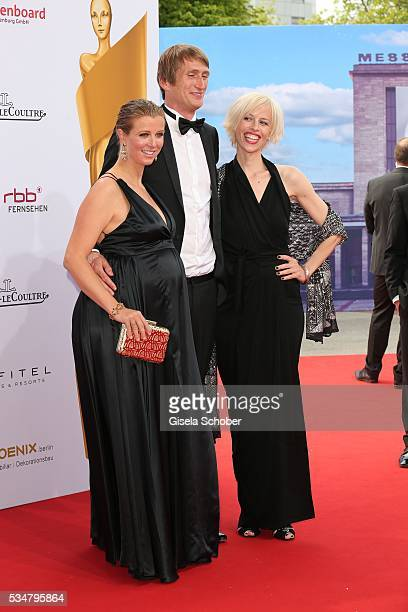 Nina Eichingerpregnant her boyfriend Fritz Meinikat and Katja Eichinger widow of Bernd Eichinger attend the Lola German Film Award 2016 on May 27...