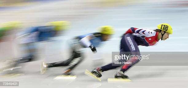 Nina Evteeva of Russia leads in a heat of the Ladies 1000m during the ISU European Short Track Speed Skating Championships at the Palavela arena on...