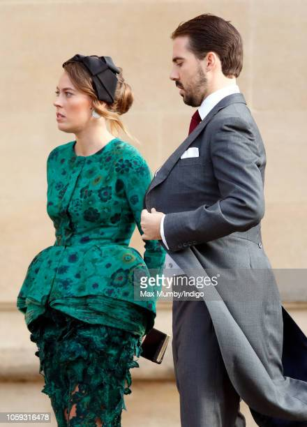 Nina Flohr and Prince Philippos of Greece attend the wedding of Princess Eugenie of York and Jack Brooksbank at St George's Chapel on October 12 2018...