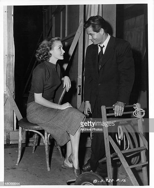 Nina Foch and Glenn Ford while on location from the film 'Undercover Man' 1949