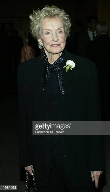 Nina Foch attends the Centennial Tribute to the late director Vincente Minnelli at the Academy of Motion Picture Arts and Sciences on April 30 2003...