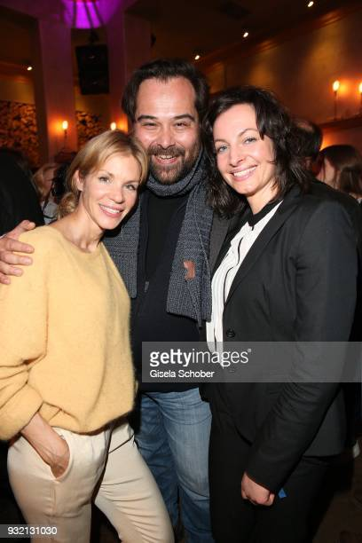 Nina Friederike Gnaedig Martin Neuhaus and Dagny Dewath during the NdF after work press cocktail at Parkcafe on March 14 2018 in Munich Germany