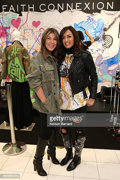 Nina Garcia Creative Director Marie Claire and Maria Buccellati President of Faith Connexion attend the Faith Connexion Street Art Tour hosted by...