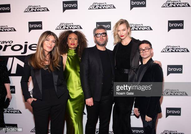 Nina Garcia Elaine Welteroth Brandon Maxwell Karlie Kloss and Christian Siriano attend Bravo's Project Runway New York Premiere at Vandal on March 07...