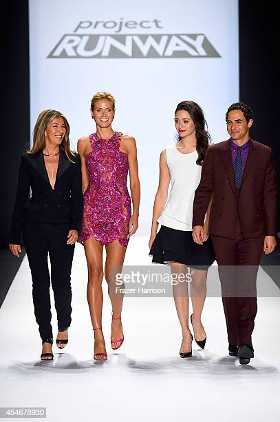 Nina Garcia Heidi Klum Emmy Rossum and Zac Posen walk the runway at the Project Runway fashion show during MercedesBenz Fashion Week Spring 2015 at...