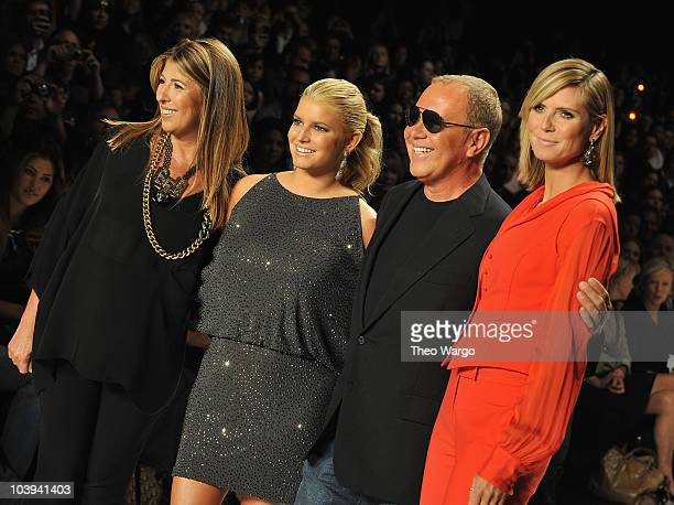 Nina Garcia, Jessica simpson, Michael Kors and Heidi Klum attend the Project Runway Spring 2011 fashion show during Mercedes-Benz Fashion Week at The...
