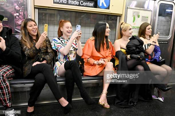 Nina Garcia Madelaine Petsch Kacey Musgraves Kim Petras and Julia Fox attend the Moschino Prefall 2020 Runway Show front row at New York Transit...