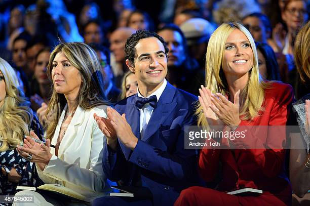 Nina Garcia Zac Posen and Heidi Klum attend Project Runway show during Spring 2016 New York Fashion Week The Shows at The Arc Skylight at Moynihan...