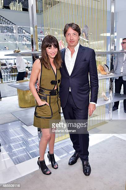 Nina Gelb and Gianvito Rossi attend Barneys New York Fetes Shoe Designer Gianvito Rossi at Barneys New York Beverly Hills on August 27 2015 in...