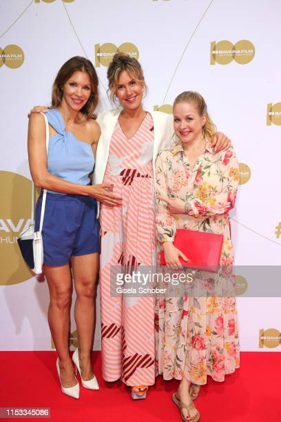 Nina Gnaedig Wolke Hegenbarth pregnant and Jasmin Schwiers during the Bavaria Film Reception One Hundred Years in Motion on the occasion of the 100th...