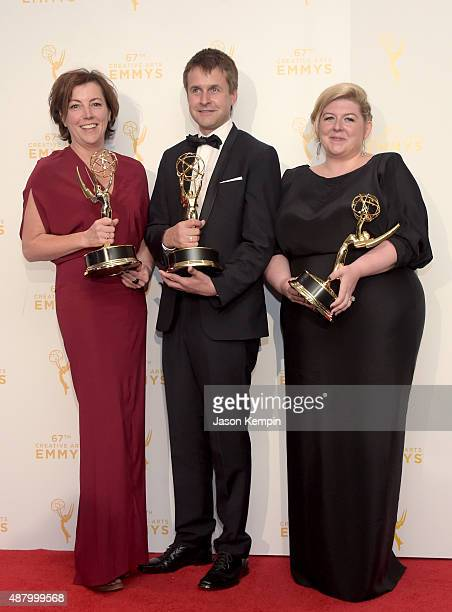Nina Gold Robert Sterne and Carla Stronge winners of Oustanding Casting for a Drama Series for Game of Thrones pose in the press room during the 2015...