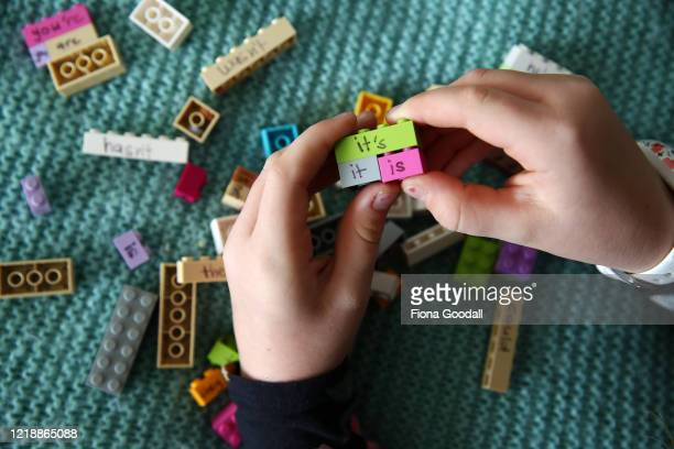 Nina Goodall works on a lesson in contraction words using Lego her mum made after seeing an example online on the first day of term while in lockdown...