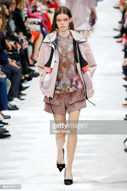 Nina Gulien walks the runway during the Valentino show as part of the Paris Fashion Week Womenswear Spring/Summer 2018 on October 1 2017 in Paris...