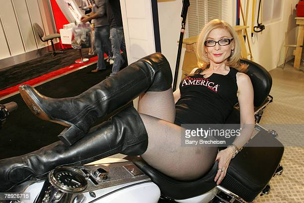 Nina Hartley at the Naughty America booth in the Sands Expo Center at the 2008 AVN Adult Entertainment Expo on January 12 2008 in Las Vegas Nevada