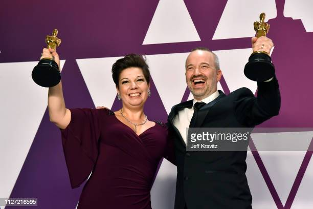 Nina Hartstone and John Warhurst pose with Best Sound Editing award for Bohemian Rhapsody in the press room during at Hollywood and Highland on...