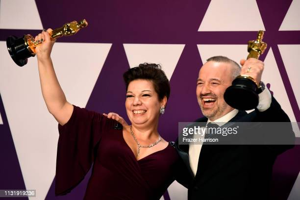 Nina Hartstone and John Warhurst winners of Best Sound Editing for Bohemian Rhapsody pose in the press room during the 91st Annual Academy Awards at...