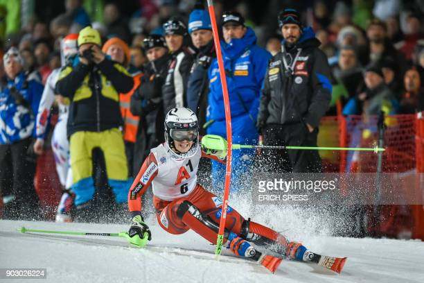Nina HaverLoeseth of Norway competes during first run of the FIS World Cup Ladies night Slalom race in FlachauAustria on January 9 2018 / AFP PHOTO /...