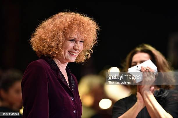 Nina Hoger reacts at the end of the anniversary concert Rilke Projekt Live 'Dir zur Feier' at Alte Oper on December 4 2015 in Frankfurt am Main...