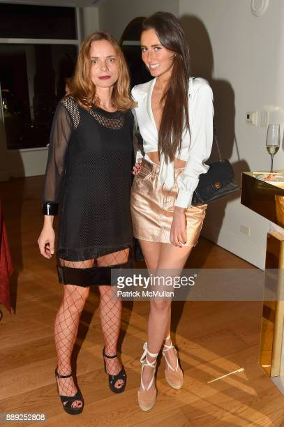 Nina Hollein and Whitney Schott attend the Galerie Gmurzynska Dinner in Honor of Jean Pigozzi at the Penthouse at the Faena Hotel Miami Beach on...