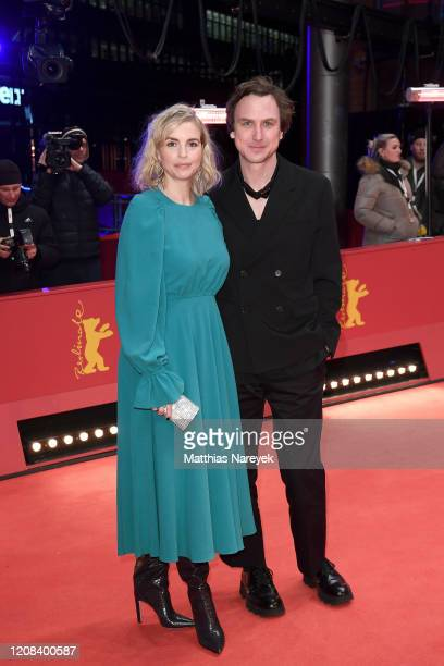 Nina Hoss and Lars Eidinger pose at the My Little Sister premiere during the 70th Berlinale International Film Festival Berlin at Berlinale Palace on...