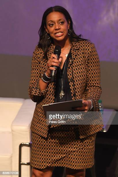 Nina Howard speak onstage at 'The Immortal Life Of Henrietta Lacks' Viewing Panel Discussion with Renee Elise Goldsberry Dr Jessica Shepherd Dr...