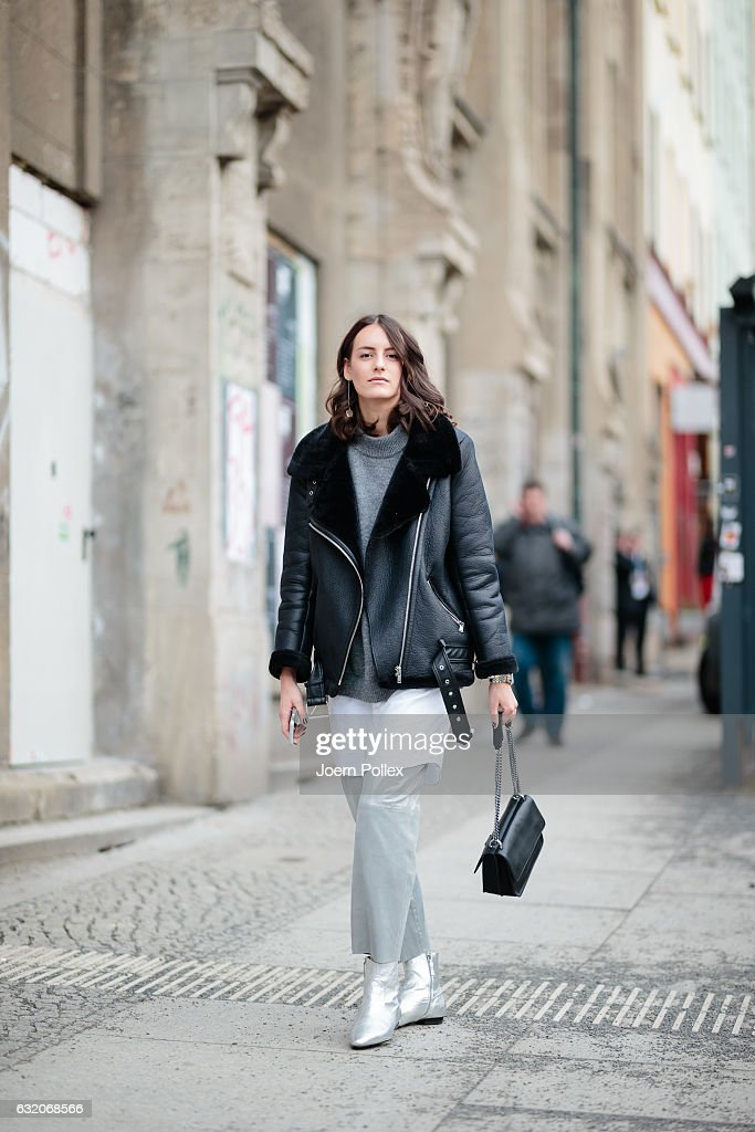 Nina Huebscher, aka Ninaco Ninaco, wearing Riani poses for photos during the Mercedes-Benz Fashion Week Berlin A/W 2017 at Kaufhaus Jandorf on January 19, 2017 in Berlin, Germany.