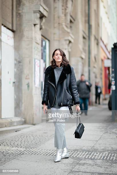 Nina Huebscher aka Ninaco Ninaco wearing Riani poses for photos during the MercedesBenz Fashion Week Berlin A/W 2017 at Kaufhaus Jandorf on January...