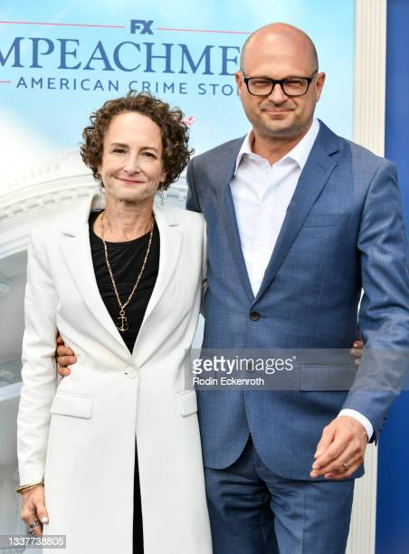"""Nina Jacobson and Bradford Simpson attend the premiere of FX's """"Impeachment: American Crime Story"""" at Pacific Design Center on September 01, 2021 in..."""
