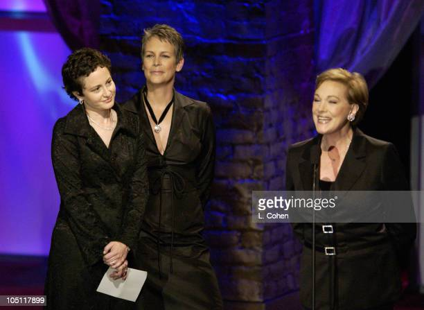 Nina Jacobson Jamie Lee Curtis Julie Andrews during 2003 Women In Film Crystal Lucy Awards Show at Century Plaza Hotel in Los Angeles California...