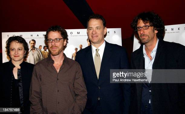 Nina Jacobson president of Buena Vista Motion Pictures Group Ethan Coen Tom Hanks and Joel Coen